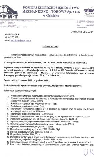 Pomorskie Przedsiębiorstwo Mechaniczno-Torowe Sp. z o.o. w Gdańsku 05.02.2018
