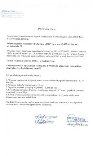 Referencje DOLKOM Sp. z o.o. 06.2015