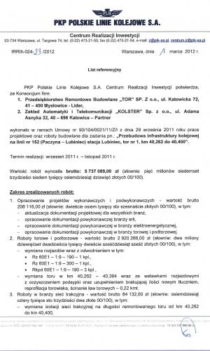 Referencje PKP 01.03.2012