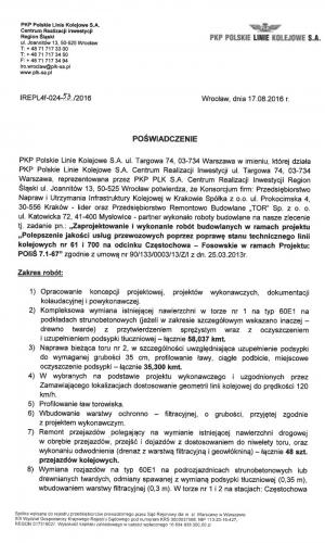 Referencje PKP 17.08.2016