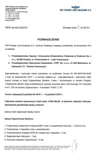 Referencje PKP 21.03.2016