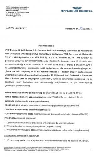 Referencje PKP 23.08.2017