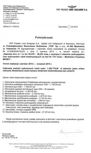 Referencje PKP 27.04.2016