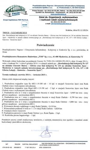 Referencje PNUIK Kraków 01.12.2015